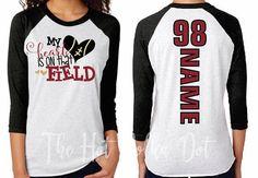 """Football Mom Shirt """"My Heart is on that #clothing #women #tshirt @EtsyMktgTool http://etsy.me/2hWKqaJ"""