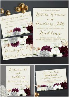 Printable Floral Wedding Invitation Set - Burgundy & Gold Anemone & Succulent Wedding invitation:  • wedding invitation (5x7, fits inside A7 envelope) •