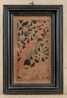 Wilhelmus Antonius Faber (Southeastern Pennsylvania 1790-1818), ink and watercolor cutout bookplate of a bird, inscribed Sarah Shaner 1813, ...