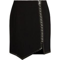 Mugler Leather-trimmed wool mini skirt ($710) ❤ liked on Polyvore featuring skirts, mini skirts, black, reversible skirt, wool skirts, short skirts, woolen skirt and short miniskirt