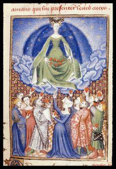 Harley 4431   fol 100 detail   (Venus). Paris, France 1410-1414.