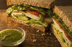 Healthy vegetable filled sandwich using Victoria's Garden Grown Sweet kale Dressing as a spread.