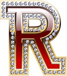 Alfabeto rojo co orilla dorada con brillantes incrustados.   Oh my Alfabetos!