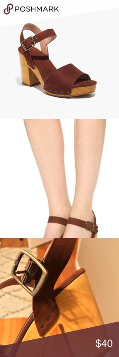 Madewell Jo Sandal in brown. Worn once so slight wear on bottom and on the toe area. Suede and wooden. Great shoes! Madewell Shoes