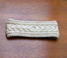 Earthy/ Hand Knitted Headband Aran Earwarmer Alpaca Chunky