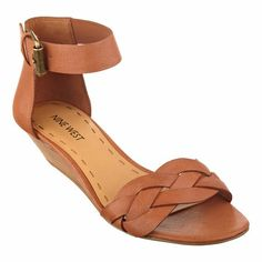 A braided toe strap brings added interest to Valci, a breezy ankle-strap sandal that simply can't wait for warm weather! Adjustable buckle closure. Padded footbed for all-day comfort. Leather upper. Man-made lining and sole. Imported. Stacked 1 1/2 inch heels. Women's shoes. Ankle strap sandals.
