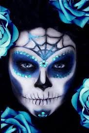 candy skull face paint black and white - Google Search