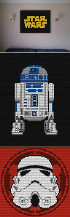Awesome DIY Lego Star Wars Inspiration | Star Wars Lego Mosaic by DIY Ready at http://diyready.com/11-diy-lego-star-wars-ideas/