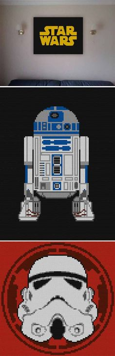 Awesome DIY Lego Star Wars Inspiration   Star Wars Lego Mosaic by DIY Ready at http://diyready.com/11-diy-lego-star-wars-ideas/