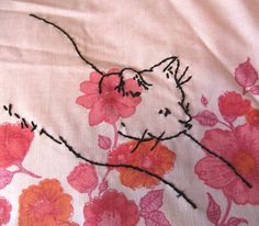 Cat Stretch Embroidery Pattern by WaterPenny on Etsy, $3.00