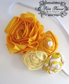 Amelia-head band     Vintage Couture Shabby Chic Shades of Yellow Satin Flower cluster headband- Light Pale Yellow Mustard - CUSTOM ORDER - Photography prop. $18.00, via Etsy.