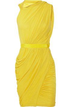 Elegantly draped cotton-blend dress. In head-turning chartreuse yellow. Giambattista Valli