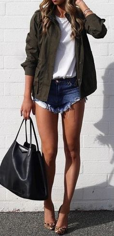 #summer #fblogger #outfits   Army Green Jacket + White Top + Denim Shorts                                                                             Source