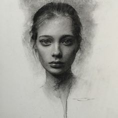 """Instagram photo by caseybaugh - Curiosity won...... Charcoal on paper 11x14"""" ➰ ( model - tanya katysheva ) #art #charcoal #drawing"""