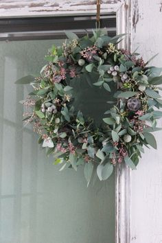 lavender, blue and green wreath - love the colours here and different take on a . lavender, blue a Christmas Door Wreaths, Christmas Flowers, Noel Christmas, Holiday Wreaths, Rustic Christmas, Christmas Decorations, Lavender Wreath, Lavender Blue, Corona Floral