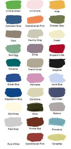 Annie Sloan chalk paint colors and location to get samples