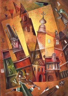 In the silence of the night by Eugene Ivanov, watercolor, 2004.  #eugeneivanov #cubistic #urban #landscape #cityscape #cubism #@eugene_1_ivanov