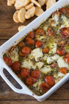 Hot Caprese Dip served with Twistos Bruschetta Baked Snack Bites