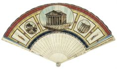 1780-1800 ca.  Grand Tour, Fan, Italian. Kid leaf painted with views of Parthenon, Temple of Saturn and Temple of Antoninus and Faustina, arrow shaped ivory sticks pierced, guards foiled, in original pink card box 11in. (28cm.)'   christies.com