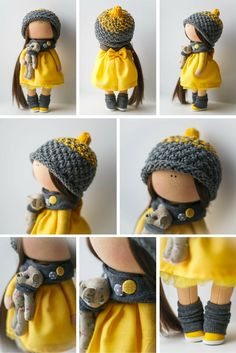 Handmade doll Tilda dolls Decorative Doll Fabric Doll Cloth doll yellow grey…