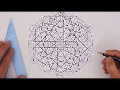 How to draw Islamic geometry - full tutorial - basic construction of an… Islamic Art Pattern, Arabic Pattern, Geometry Pattern, Geometry Art, Sacred Geometry, Pattern Drawing, Pattern Art, Geometric Construction, Geometric Drawing