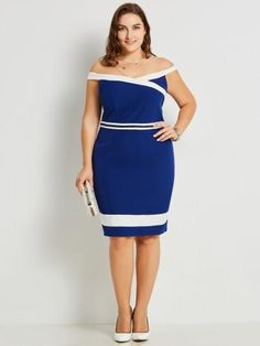 ac4667b80a406 Blue Invisible Zipper Plus Size Women s Bodycon Dress Cheap Dresses