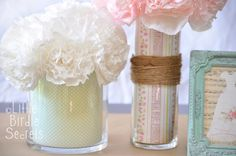 Super easy project, great for parties and bridal showers:  insert scrapbook paper into clear glass containers.  So easy to change out for holidays/seasons too!