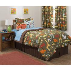 Mainstays Kids Safari Comforter Set- 2 Decorative Pillows and Shams Included, Multicolor Boys Bedroom Curtains, Safari Bedroom, Safari Windows, Panel Curtains, Window Panels, Bed Spreads, Comforter Sets, Warm And Cozy, Decorative Pillows