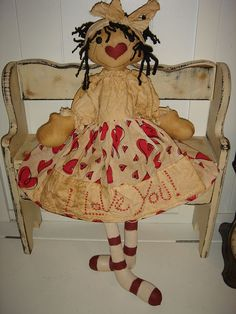 Raggedy Ann doll Primitive Sewing pattern Love by anniescupboards, $6.00