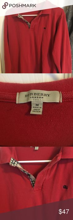 Men's Burberry London long-sleeve polo size M Medium wear. No marks or stains. Fits a little trim like all of Burberry's products. Burberry Shirts Polos