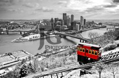 Pittsburgh's Duquesne Incline (selective color, black, white, red, three rivers) JG Photography ©
