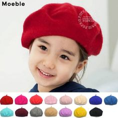 ccb187aed631d Moeble Children Spring Beret Little Girls Hats Dome Cap Girl Fashion Caps  Baby Girl Fur Berets Multi Candy Color Gift