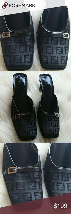 Fendi mules monogram shoes size 10 Excellent condition,  please check pictures because have a little peel in one shoes, otherwise are like new. Fendi Shoes Mules & Clogs