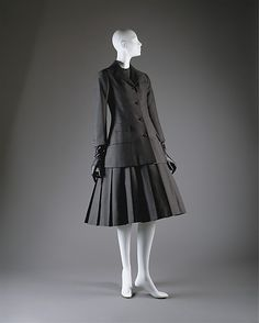 """""""A"""" ensemble House of Dior (French, founded 1947) Designer: Christian Dior (French, Granville 1905–1957 Montecatini) Date: spring/summer 1955"""