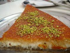 Kenafeh (Kadaif) (Arabic: كنافة kanāfah), also spelled knafeh, kunafeh, or kunafah, is a traditional Arab cheese pastry soaked in sweet syrup thought to have originated from the city Nablus, Palestine,[citation needed] and popular in the eastern Mediterranean cuisines.