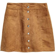 Jupe trapèze 29,99 $ ($30) ❤ liked on Polyvore featuring skirts, bottoms, faux suede skirt, beige a line skirt, short a line skirt, short skirts and button skirt