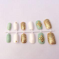 Mint Fake Nail Set Glitter False Nails Gold Acrylic Nails