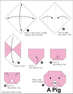 Pig (face) - Easy Origami For Kids                                                                                                                                                                                 More