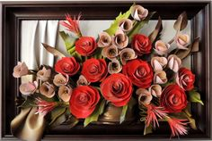 Handmade Leather Art Bouquet Sku: DBKK7-10AG  Handmade Leather Art Bouquet  Leather Flowers   Size: (73cm x 49cm)  Frame: Solid Wood, Stained  Colors: Red, Green, Grey, Gold, Brown  Material: Genuine Leather  www.makmarketplace.com