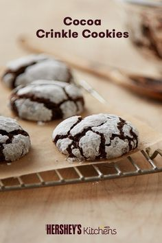 heck out these rich Cocoa Crinkle Cookies! This easy and delicious recipe can be made with HERSHEY'S Cocoa or HERSHEY'S SPECIAL DARK Cocoa. Once you bite into one of these cookies, the shell melts away leaving you with a gooey chocolatey cookie inside, that is sure to make everyone smile!