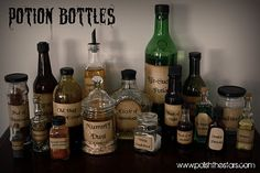 DIY Potion Bottle Labels and Hints for what to put inside.