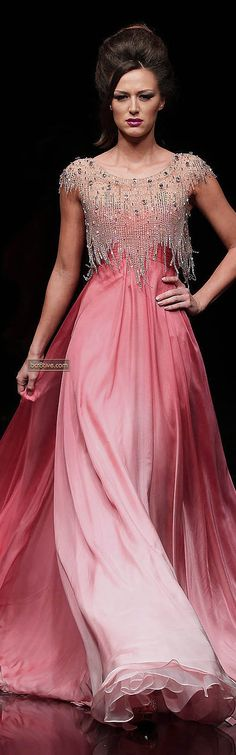 Hanna Touma ~ Couture Spring Pink Ombre Gown w Crystal Bodice Embellishments 2012