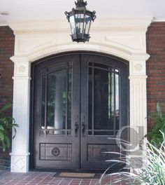 New double front door colors wrought iron ideas Double Front Entry Doors, Iron Front Door, Double Doors Exterior, Front Door Entrance, Door Entryway, House Front Door, House Doors, Iron Doors, Front Door Decor