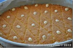Simple and easy Harisa Recipe. A moist and delicate semolina cake drenched in rosewater syrup. Blanched Almonds, Raw Almonds, Semolina Cake, Arabic Sweets, Yogurt Cups, Middle Eastern Recipes, Dessert Recipes, Desserts, Cake Cookies