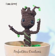 Baby Groot. Link to free crochet pattern