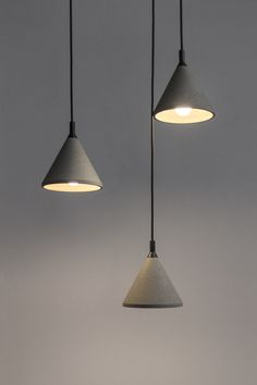 Pendant Lamp - ZHONG Material: Cement, Recycled Concrete, Metal; Size: φ180 x 200 mm ; Weight: 1 kg; Wire Length: 1.8 Meters Black; Light: E27 LED 3W