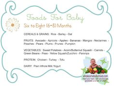 Introducing Solids to Your 6 month to 8 month old Baby, Learn about introducing solid foods with tips, solid food charts for introducing solids at 6 through 8 months old.