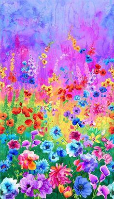 Multi Day Dreaming Floral Panel By Hwang, Chong-A Floral Fabric, Floral Flowers, Fabric Flowers, Cotton Fabric, Woven Fabric, Flower Art, Floral Prints, Timeless Treasures Fabric, Digital Print
