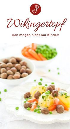 Kinder Rezepte, Mittagessen Rezepte: Rezept für einen leckeren Wikingertopf mit… Children's recipes, lunch recipes: Recipe for a delicious Viking pot with small meatballs, peas, roots and potatoes. Not only kids love to eat it! Salmon Recipes, Lunch Recipes, Vegan Recipes, Kids Meals, Easy Meals, Slow Cooker Recipes, Cooking Recipes, Childrens Meals, Brenda