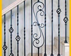 Stair Railing Parts Iron Balusters Iron Spindles Staircase Stair Railing Parts, Modern Stair Railing, Wrought Iron Stair Railing, Iron Staircase, Iron Balusters, Metal Stairs, Metal Railings, Modern Stairs, Hand Railing